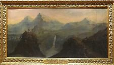 Huge 19th Century Explorer Landscape Surveying Carpathian Mountain Oil Painting