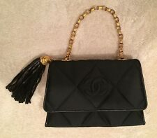 Chanel Black Satin Evening Bag with Dust Bag and Box