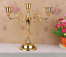 2016 Vintage Gold Metallic  Candelabra 3Arms Candle Holder Table Weeding Decor
