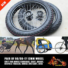 "12mm Axle 90/90-17"" Wheel Rim Tyre Tire PITPRO Horse Buggy Cart Sulky Joy Cart"