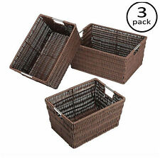 Plastic Woven Wicker Storage Basket Set 3 Baskets Bin Box Organizer Container