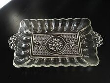 Clear Depression Glass Ribbed Sides Candlewick Handle Butter Dish Serving Tray