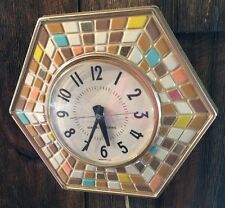 GENERAL ELECTRIC MID-CENTURY MODERN ELECTRIC WALL CLOCK MODEL 2118A WITH TILES