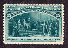 US 238 15c Columbian Exposition Mint VF OG H SCV $225