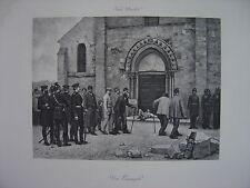 Grande Estampe originale Jules Daubeil Un exemple Soldats Militaires Guerre 1870