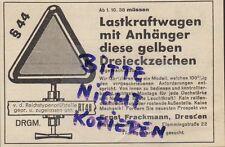 DRESDEN, Werbung 1938, Ernst Frackmann Warn-Dreiecke Auto-Reifen Reifen Kfz LKW