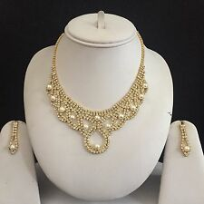 GOLD CLEAR PEARL COSTUME JEWELLERY NECKLACE EARRINGS SET RHINESTONE NEW BRIDAL