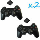 2X New Black Wireless Shock Game Controller for Sony PS2 Free Shipping