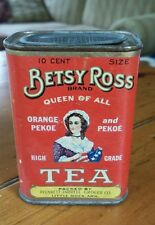 Vintage Betsy Ross Queen of All Tea Tin Can Coin Bank kitchen advertising red