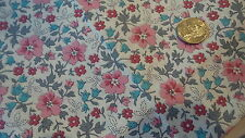 """Vintage Cotton Fabric TURQUOISE,PINK,GRAY FLOWERS ON CREAM  1 Yd/34.5"""""""