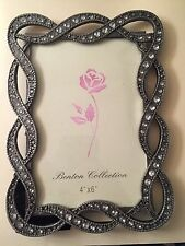NIB Benton Collection 4x6 Pewter Rhinestone Marquisate Metal Photo Frame