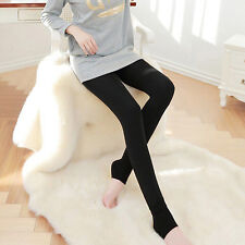 Womens Footless Leggings Winter Warm Fleece Thick Thermal Stretchy Skinny Pants