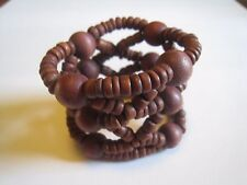 Vintage Women's Hair Bun, Ponytail Holder, Clasp With Wood Beads, Unmarked