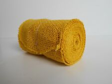 "15 Feet, 5.5"" Wide, BURLAP JUTE Mesh Ribbon Roll, Yellow, Unwired Finished Edge"
