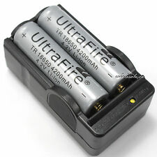 2 PCS Gray 4200mAh 4.2v li-ion 18650 Rechargeable Battery With 2 Slots Charger