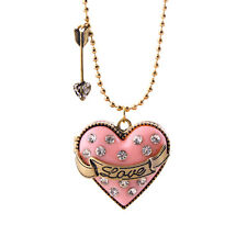 Hot Fashion Pink Romantic Love Heart Crystals Locket Pendent Necklace