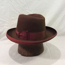 Brown Champ Fedora Men's Vintage Hat with Redish Brown Band -- Size 7