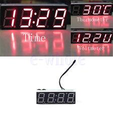 Rosso 3 in1 LED Voltmetro Termometro Orologio Da Pannello Per Auto Moto DB
