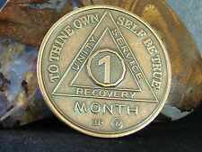 Alcoholics Anonymous AA 1 Month Bronze Medallion Token Coin Chip Sobrity Sober