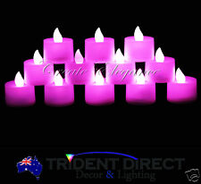 12x LED Tealight Candles Pink Flicker