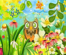 FUNNY OWL IN FLOWER GARDEN COMPUTER MOUSE PAD 9 X 7