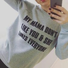 "Grey Justin Bieber Lyric Jumper ""My Mama Don't Like You"" Small Size 8-10"