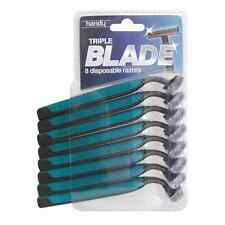 8 PACK TRIPLE BLADE MEN'S RAZORS DISPOSABLE FIX HEAD BLADE SHAVING RAZORS NEW