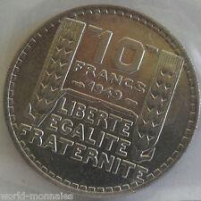 10 francs turin 1949 : SPL : pièce de monnaie française