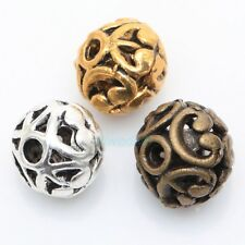 10Pcs Tibetan silver Heart Carved Round Shaped Hollow Spacer Bead dia 12mm