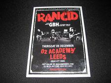 Rancid Flyer Leeds o2 Academy Punk GBH Music Memorabilia Concert COLLECTIBLE