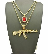 """MEN'S ICED OUT AK-47 RIFLE GUN & RED RUBY PENDANT W 24"""" 30"""" CHAIN NECKLACE K434G"""