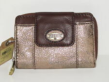 New Ladies FOSSIL Brown Gold Vintage Genuine Leather Coin Clutch Purse Wallet