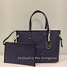 NWT Michael Kors Jet Set Reversible Tote Medium Baltic Blue MK Logo Bag $268