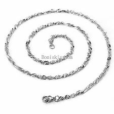 Men's Women's Silver Hypoallergenic Stainless Steel Twisted Chain Necklace 22""