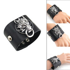 Fashion Gothic Cool Mens Punk Rock Dragon PU Leather Cuff Bracelet Wristband New