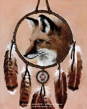 Native American Shaman Fox Medicine Wheel Ethnic feather art print Brandy Woods