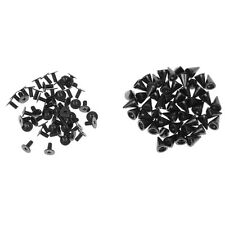 50Set Cone Screw Rivets Snap Spike Stud Button Leather Craft Jeans Gun Black