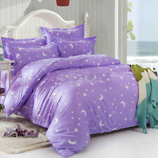 Designer Poly Cotton Printed Double Bedsheet With 2 Pillow Covers - Purple star