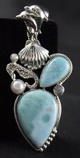 Larimar Pendant Pearl Blue Topaz .925 Sterling Silver Dolphins Seahorse