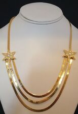 Vintage KIRKS FOLLY Necklace Gold Herringbone Chain Crystal Stars ULTRA RARE kfb