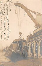 1906 RPPC Crane on Viaduct Lifting PRR Train Car Wreck Atlantic City NJ