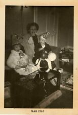 Vintage Photograph Mom & Children Celebrating New Year's Eve 1963  Noise Makers