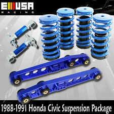 1988-1991 Civic/CRX Rear Lower Control Arm&Rear Camber Kit+Coilover Springs BLUE