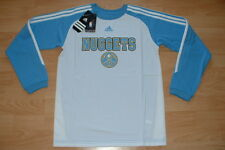 ADIDAS DENVER NUGGETS SHOOTING SHIRT LONG SLEEVE JERSEY YOUTH SMALL