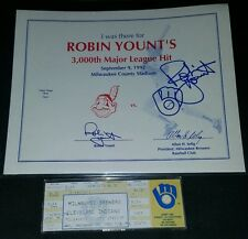 "Robin Yount 3000 Hit Ticket with SIGNED ""I Was There"" Certificate Brewers"