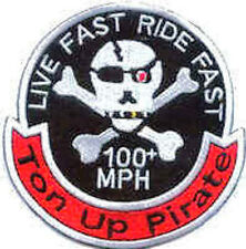 Iron On/ Sew On Embroidered Patch Badge Ton Up Pirate Live Fast Ride Fast 100mph