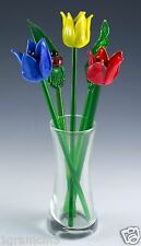 """Hand Blown Glass Flowers In Vase Spring Tulips Mini Bouquet 7""""H New In Box"""