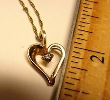 "14 K Yellow GF Heart Small Stone Pendant & 20"" Chain Sign PPC Valentine Necklace"