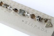 Silpada Sterling Silver Crystal Smoky Quartz Bead Toggle Bracelet B1275
