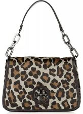 TORY BURCH BLACK CALF HAIR LEATHER ANIMAL LEOPARD PRINT MEDIUM SHOULDER  BAG